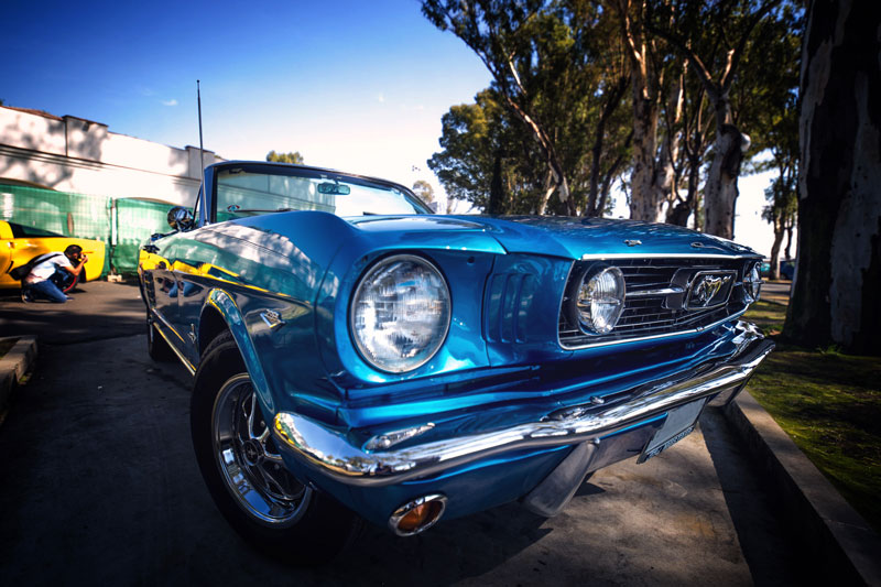 wide angle shot of classic car with the Irix 15mm