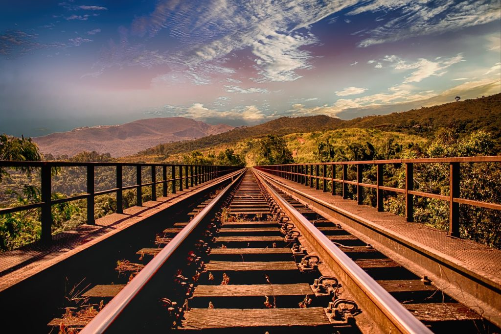 Railroad track example of lines in composition