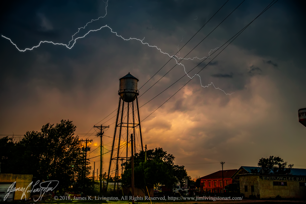 Lightning at sunset ©Jim Livingston