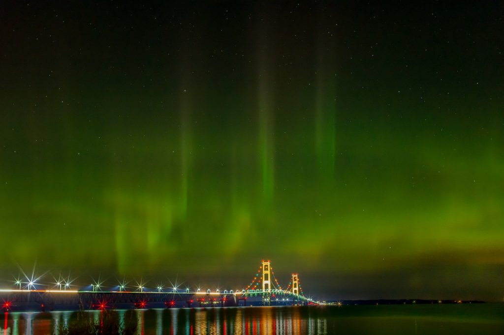 Northern Lights over Macinack Bridge, Michigan